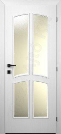 Festett fehér belső ajtó 16. minta üvegezett